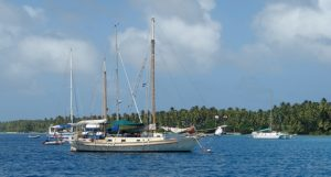Yachts on the moorings at Enemanet Island. Photo: Karen Earnshaw