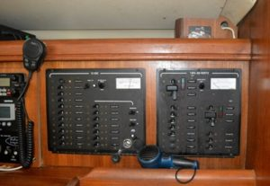 The electric panels at the nav station.