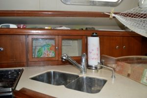 The handy double sink in the well-designed galley.
