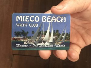 A Mieco Beach Yacht Club card.